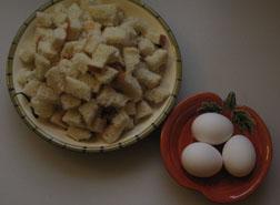 bread cubes + eggs