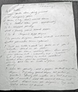 The clam sauce recipe,  as Eileen's mom wrote it out for me.