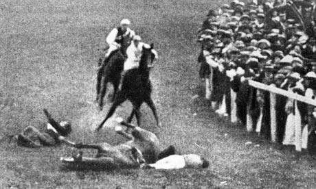 Emily Davison (at left) and jockey Herbert Jones on the ground at the Derby in Epsom, 1913. Hulton Archive photo reproduced on www.guardian.co.uk.