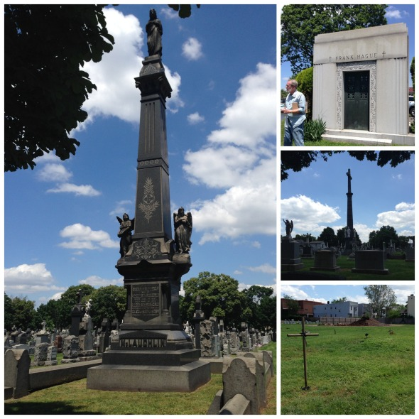 Clockwise from left: Denny McLaughlin monument, Frank Hague mausoleum, the Martin Adams column.