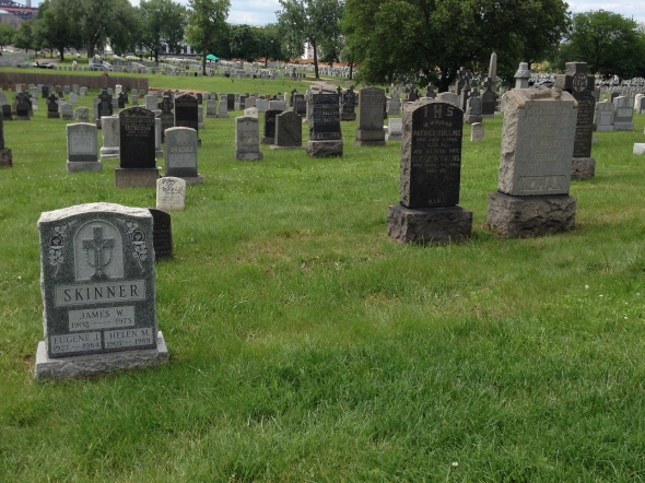Graves upon graves, gaps upon gaps: another day in a big cemetery.