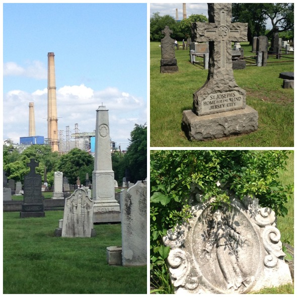 Clockwise from left: A glimpse of the industrial background; a monument to burials from a home for the blind; vegetation arching over a headstone.