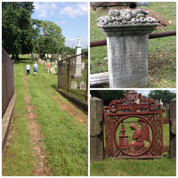 Clockwise from left: the entrance; a sleeping cherub on a child's grave; a gate to a family plot.