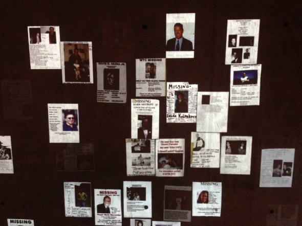Slides of missing-person flyers from the fall of 2001, exhibit at National September 11 Memorial and Museum, Lower Manhattan.